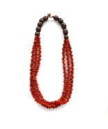 THREE LOOP FIRE RED BROWN COCONUT SEED BEAD NECKLACE, TRIPLE STRINGS WIT... - $18.91
