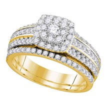 14kt Yellow Gold Round Diamond Bridal Wedding Engagement Ring Band Set 1.00 Ctw - £1,019.16 GBP