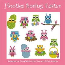 Hooties Spring Easter owl cross stitch chart Pinoy Stitch - $13.50