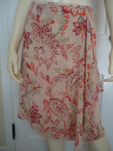ANN TAYLOR PETITES Skirt 2P Sheer Silk Faux Wrap Paisley Floral Lined ST... - $29.67