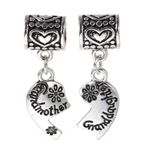 Set Pendants Grandmother & Granddaughter Broken Heart Fits Charm Bracelet C15 - $4.94