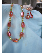 Bold and Vibrant Orange Austrian Cut Crystal necklace and matching earrings - $45.00