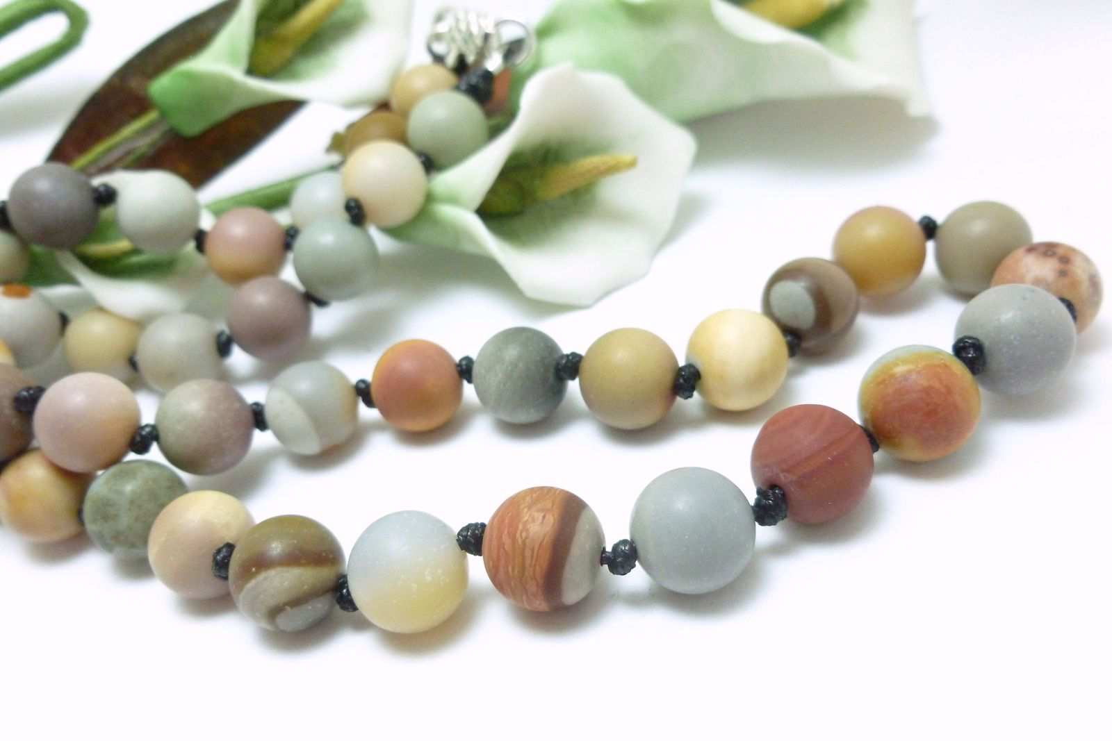 Polychrome Jasper Gemstone Round Matte Beaded Necklace 20 inch