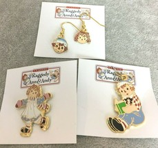 Raggedy Ann & Andy Dangle Hook Earrings Reading Charm Skating Pin Collec... - $12.99