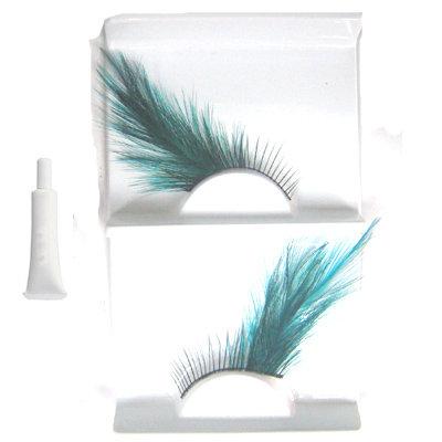 Salon feather green blue False Eyelashes Eyelash UK Bonanza