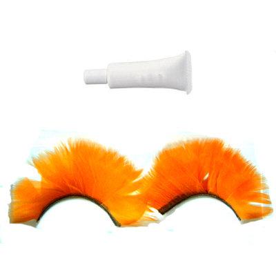 Handmade feather Orange False Eyelashes Eyelash UK Bonanza