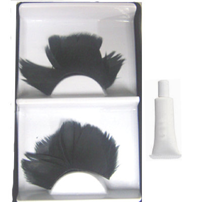 Handmade feather Black False Eyelashes Eyelash +GLUE UK Bonanza