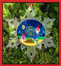 Baby Sharks Christmas Ornament - X-MAS Snowflake Ornament - $12.95