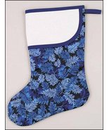 Blue Large Christmas Stocking leaves pre-finished cross stitch stocking - $19.00
