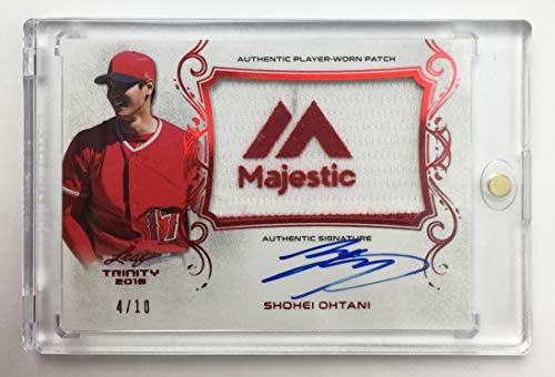 Primary image for Shohei Ohtani 2018 Leaf Trinity Autograph Patch Rookie Card #d 4/10 Logo
