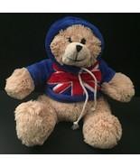 Teddy Bear Plush UK Flag Hoodie Union Jack Small Stuffed Animal Beige So... - $14.84