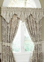"Waterford Linens Luxury CREAM/TAUPE Kerrigan Valance 40"" X 25"" Nwt 2 Available! - $33.00"