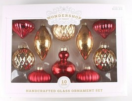 Wondershop 10 Piece Handcrafted Gold Red Glass Christmas Tree Ornaments Set NEW image 1