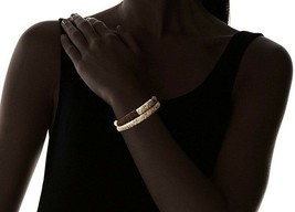 Lena Bernard Brynn Gold Metallic Suede Leather Wrapped Brass Cuff Bracelet Set image 2