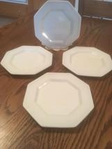 "Johnson Brothers Ironstone White 6"" Dessert Plates Beaded Edge 8 Sided Set Of 4 - $15.75"