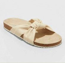 Universal Thread Womens Junie Cream Vegan Faux Leather Knotted Slide Sandals NWT image 1