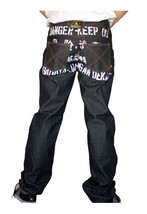Dissizit! Danger 5-pocket Classic Fit Raw Black/Indigo Denim Jeans NWT image 2