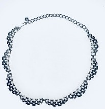Coro Signed Vintage Collar Necklace Silver-Tone Threaded Linked Hook Closure - $31.03