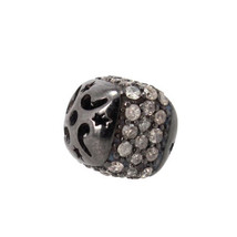 0.90 Ct Diamond Pave Rondelle Spacer Ball Bead 925 Sterling Silver Findi... - $150.54