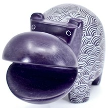 Vaneal Group Hand Carved Soapstone Large Heavy Purple Hippopotamus Hippo Bookend image 2