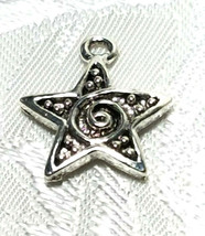 STAR WITH SWIRL FINE PEWTER PENDANT CHARM - 15mm L x 18mm W x 3mm D