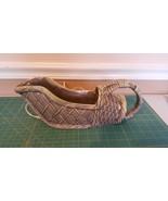 Green basket weave TV lamp planter with handle vintage - $6.43