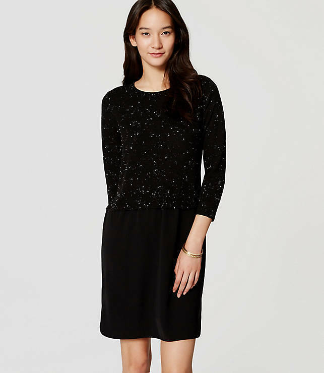 Ann Taylor LOFT Petite Black Speckled Two In  One Sweater Dress Size XSP NWT!