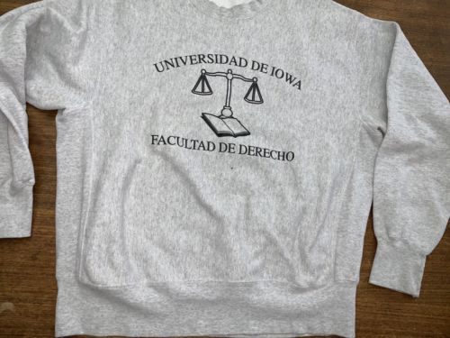 Iowa Law School Sweatshirt University Latin Reverse Weave XL Vintage Gussets