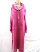 Pajamagram sz Large long hoodie robe nightgown pink long sleeve - $40.00