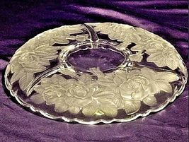 Vintage heavy etched glass 4 divider serving platter floral designs AA19-LD11917 image 3