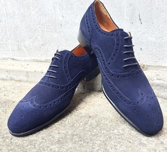 Handmade Men's Blue Heart medallion Wing Tip Dress/Formal Suede Oxford Shoes image 1