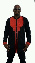 Odeneho Wear Men's Black Polished Cotton Top/Red Embroidery. African Clothing. - $78.21+