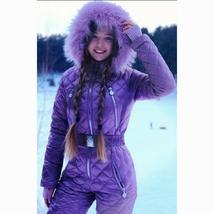 Womens Ski Suit Windproof Jumpsuit Hooded Playsuit Winter One Piece Snowsuit Glo image 6