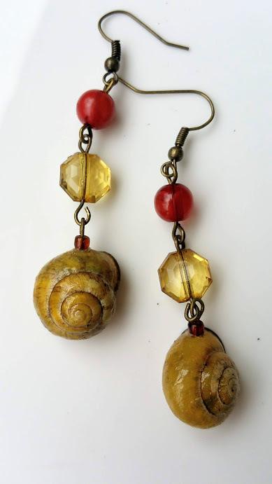 Autumn Breeze earrings: yellow orange beads & natural, yellow snail shell