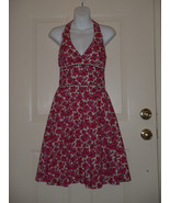 Lilly Pulitzer Pink Red Ivory Cotton Floral Print Halter Dress Size 0 - $93.28