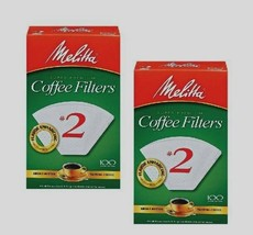 2* 100ct MELITTA Cone Coffee Filters #2 White Manual Makers Ready Set Jo... - $13.70