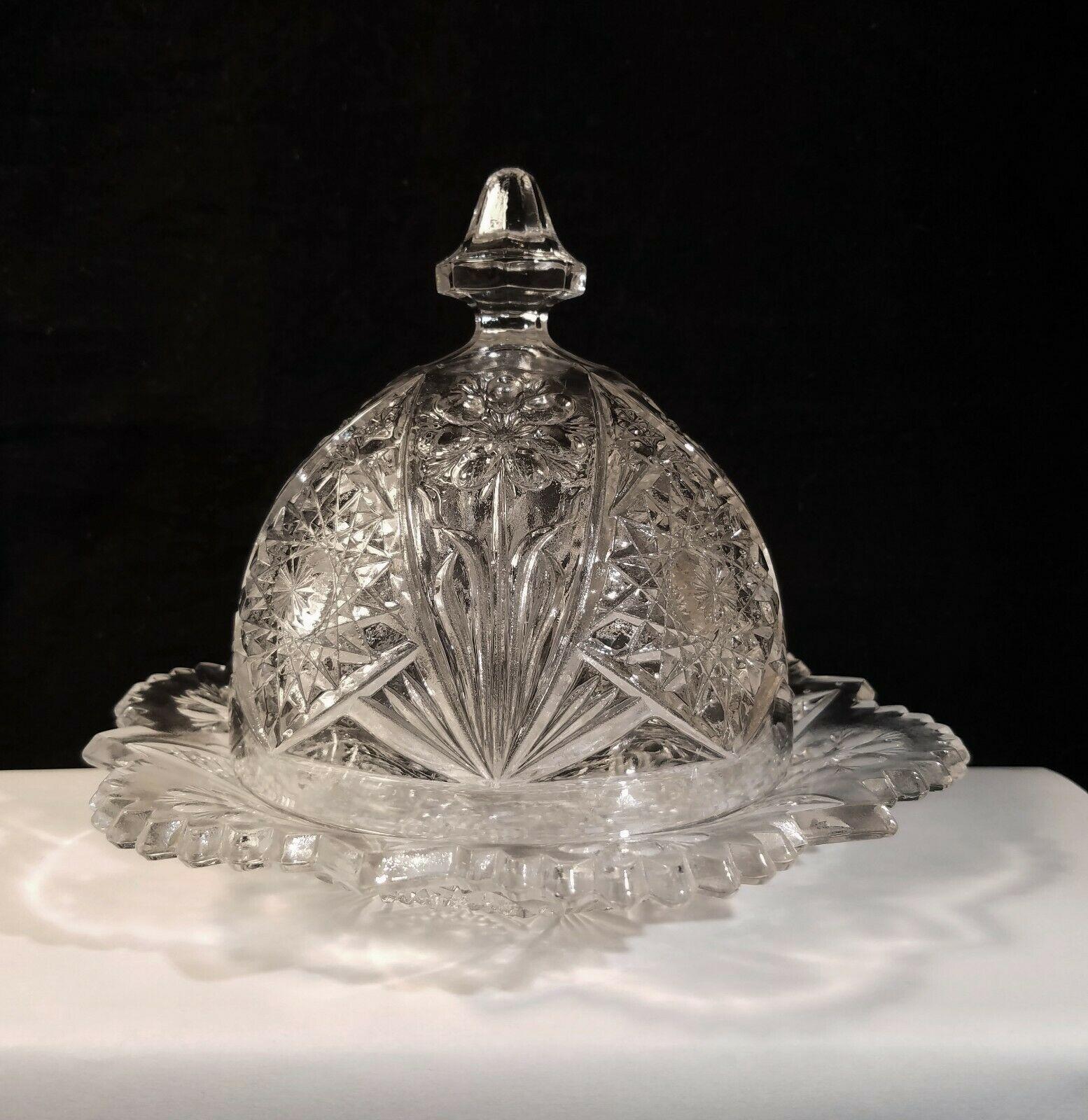La Rochelle Domed Butter Dish Imperial 474 Fringe Flower Serrated Rim c1911 - $22.95