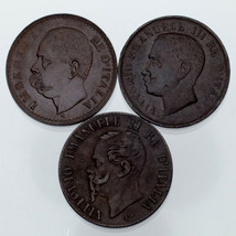 Lot of 3 Italy 1 Centissimo Coins (1867 - 1903, XF - AU) - $39.58