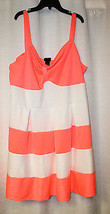 BRAND NEW WOMENS PLUS SIZE 3X STRETCHY SUMMER CORAL PINK & WHITE STRIPED... - $19.35