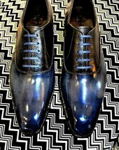 Men's handmade blue leather patina lace up shoes, designer leather shoes for men - $174.59