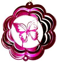4 in stainless steel raspberry butterfly USA 3D hanging wind spinner, spinners - $11.00