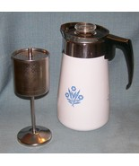 Vintage Corning BLUE CORNFLOWER Stove Top 9 Cup Coffee Pot /Percolator -... - $29.95