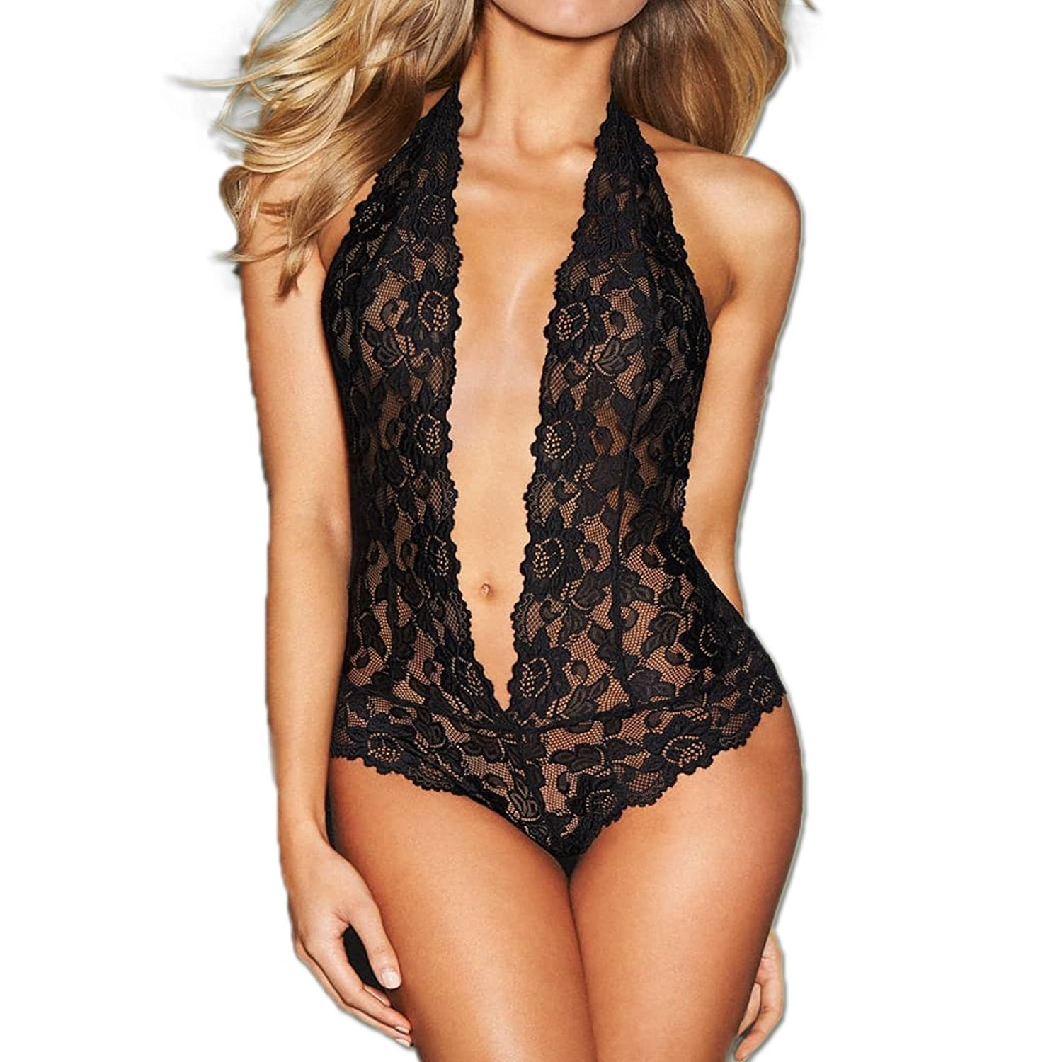 04de17d23f49d MIYU Womens Halter Sexy Lingerie Lace Teddy Bodysuit Deep V Open Back  Nightwear