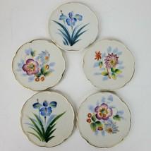 Vintage Hand Painted Porcelain Coasters SET OF 5 w/ Gold Trim Japan 3.75... - $24.94