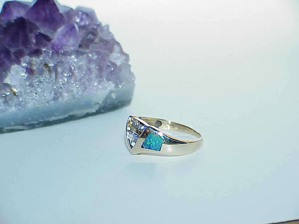 14K Black Opal Trillion Tanzanite & Diamond Yellow Gold Ring Size 7