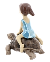Hagen-Renaker Miniature Ceramic Turtle Figurine Desert Tortoise with Girl Riding image 4