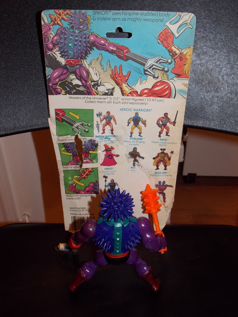 Vintage 1984 Masters Of The Universe Spikor Figure Complete With Cardback