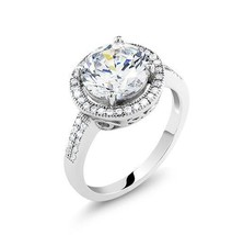 ZirconZ Sterling Silver Round Cut CZ Halo Engagement Ring 2.50 Carat - $49.99
