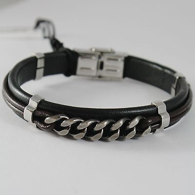 MEN'S BRACELET STEEL AND SKIN CESARE PACIOTTI 4US ART 4UBR1548