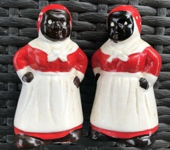BLACK AMERICANA VINTAGE MAMMY IN A BONNET RED OUTFIT SALT & PEPPER SHAKERS - $15.80